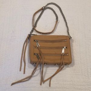 REBECCA MINKOF MINI 5 ZIP BEIGE CROSSBODY BAG